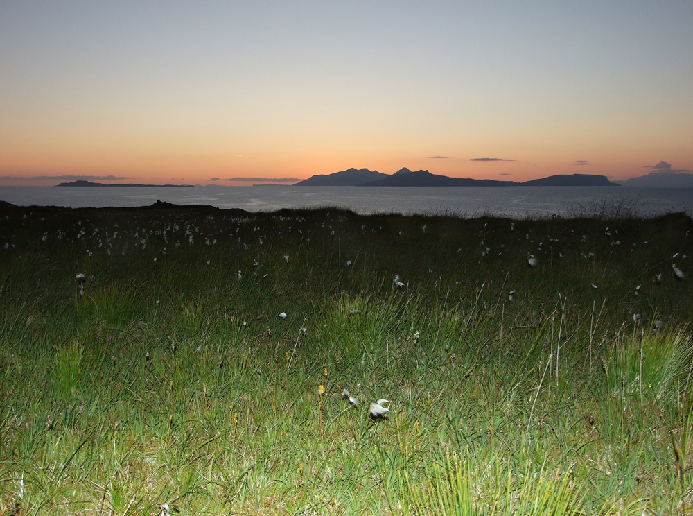 Flax Sunset from Air an Oir Self catering holiday house Ardnamurchan Scotland