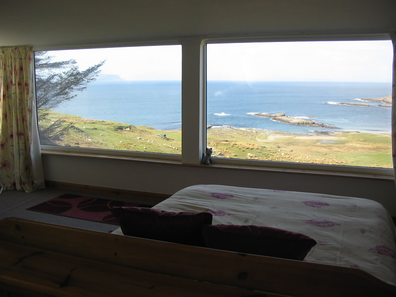 Upstairs bedroom view at Air an Oir Ardnamurchan Scotland